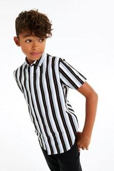 Mono Stripe Vertical Stripe Short Sleeve Shirt (3-16yrs)