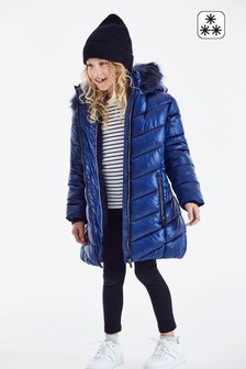 Navy Faux Fur Trim Padded Coat (3-16yrs)