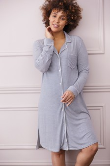 Navy Stripe Maternity Modal Night Shirt