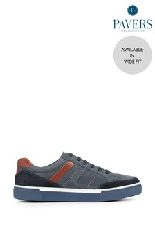 Pavers Navy Leather Men's Trainers