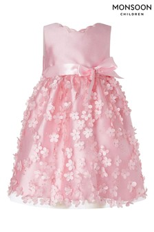 Monsoon Baby Dusky Pink 3D Embroidered Dress