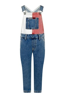 Kids Blue Denim Color Block Dungarees