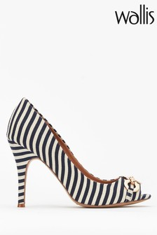Wallis Church Navy Circle Trim Peeptoe Court Shoes