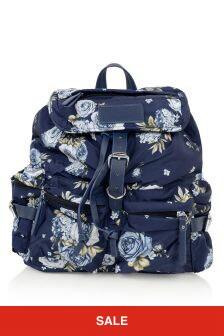 Girls Navy Rose Backpack