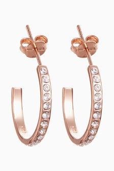 Rose Gold Plated Pave Hoop Earrings
