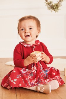 Red Floral Woven Prom Dress And Cardigan Set (0mths-2yrs)