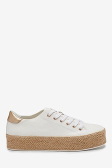 White Flatform Lace-Up Espadrille Shoes