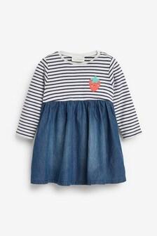 Denim Stripe Dress (0mths-2yrs)
