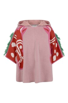 Girls Pink Knitted Horses Cape
