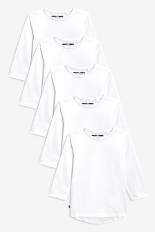 White 5 Pack Long Sleeve T-Shirts (3mths-7yrs)