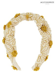 Accessorize Natural Daisy Embellished Wide Alice Band