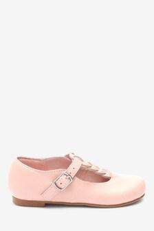 Pink Leather Plait T-Bar Shoes
