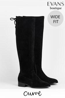 Evans Curve Wide Fit Black Stretch High Leg Boots