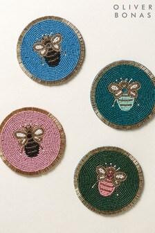 Oliver Bonas Set of 4 Bee Beaded Coasters