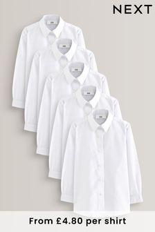 White 5 Pack Long Sleeve Formal Shirts (3-16yrs)
