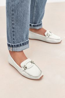 White Leather Hardware Driver Shoes