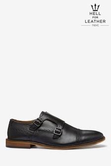 Black Leather Toe Cap Monk Shoes