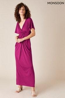 Monsoon Red Jessica Slinky Jersey Maxi Dress