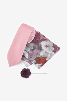Pink Tie With Pocket Square And Pin Set