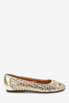 Gold Leather Weave Ballerina Shoes