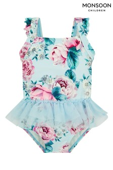 Monsoon Blue Baby Floral Skirted Swimsuit