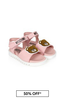 Boys Pink Leather Sandals