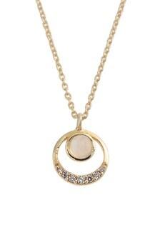 Oliver Bonas Nuala Circle & Stone Gold Plated Necklace