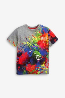 Grey Splat Print T-Shirt (3-16yrs)