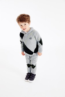 Grey Knitted Argyle Pattern Hoody And Joggers Set (3mths-7yrs)