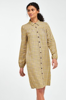 Neutral Check Shirt Dress