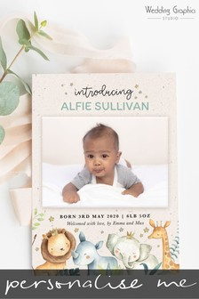 10 Pack Personalised Jungle Animals Birth Announcement Magnets And Cards by Wedding Graphics