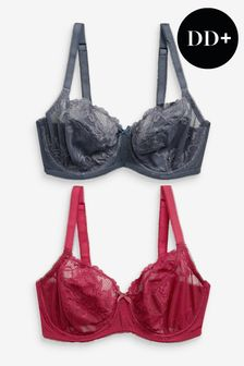 Red/Navy DD+ Non Pad Balcony Bras 2 Pack