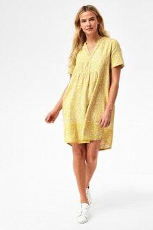 Yellow Print Linen Blend Kaftan Dress