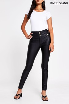 River Island Black Button Up Skinny Trousers