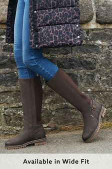 Chocolate Regular/Wide Fit Chunky Buckle Knee High Boots