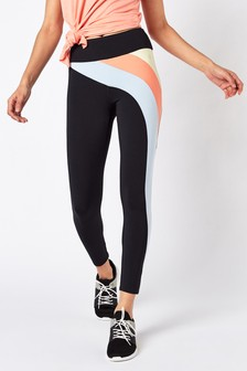 Black/Multi Colourblock 7/8 Technical Leggings