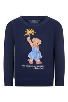 Girls Navy Cotton Bear Sweater