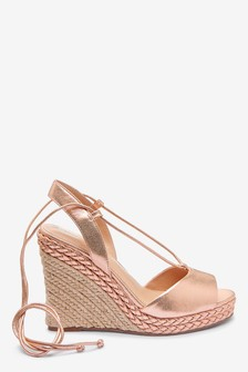 Rose Gold Ankle Wrap Plaited Wedges