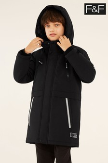 F&F Black Black Parka Coat