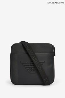 Emporio Armani Black Embossed Eagle Cross Body Bag