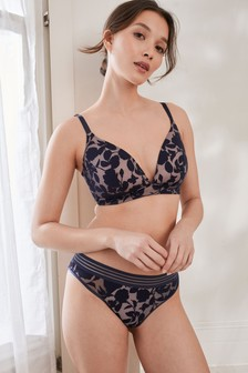 Navy Daisy Lightly Padded Wire Free Bra
