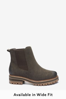 Chocolate Extra Wide Fit Forever Comfort® Chunky Casual Chelsea Boots