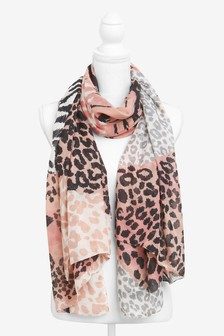Pink Mixed Animal Print Lightweight Scarf