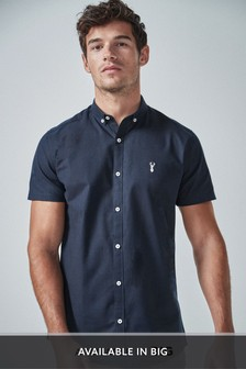 Navy Slim Fit Short Sleeve Stretch Oxford Shirt