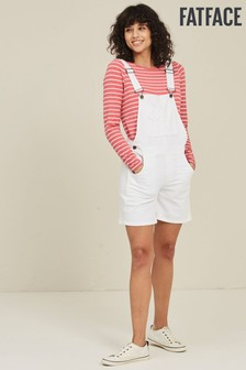 FatFace White Shortie Dungarees