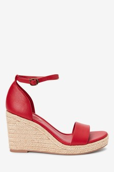 Red Two Part Espadrille Wedges