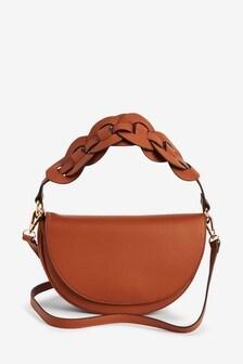 Tan Weave Detail Across Body Saddle Bag
