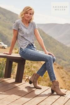 Blue Ditsy Savannah Miller V-Neck T-Shirt
