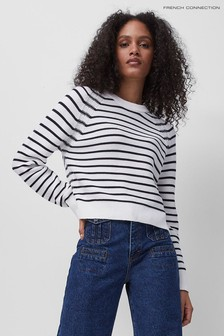 French Connection White Lillie Mozart Stripe Jumper