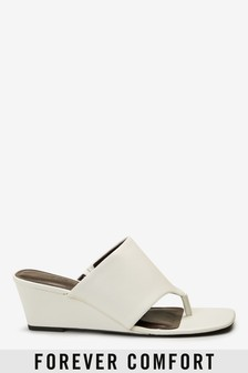 White Toe Post Wedge Mules